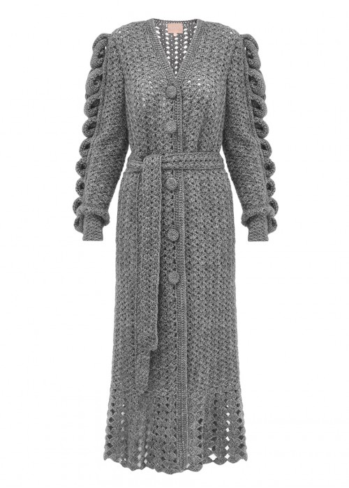 HAND KNITTED GRAY COAT