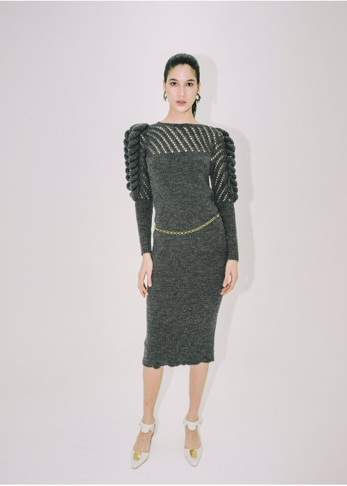 HAND KNITTED GRAY DRESS