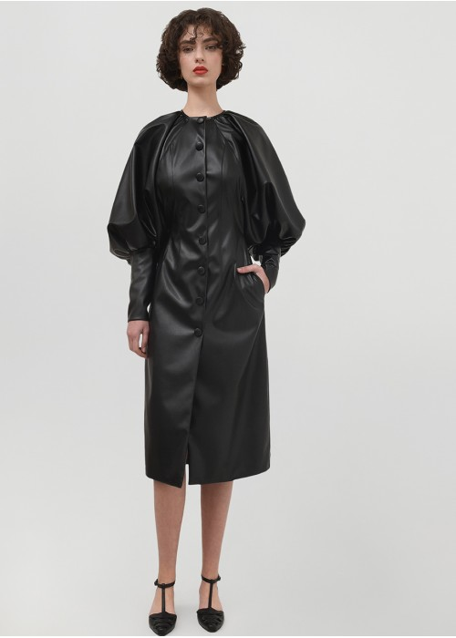POWER LEATHER BALLOON SLEEVES DRESS