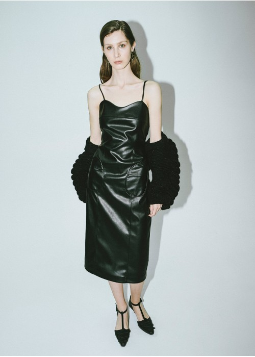 POWER LEATHER SILHOUETTE DRESS