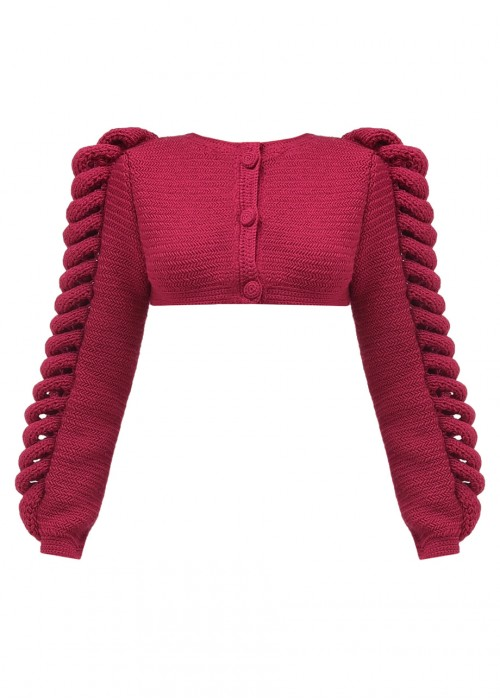 CROPPED KNITTED BERRY JACKET