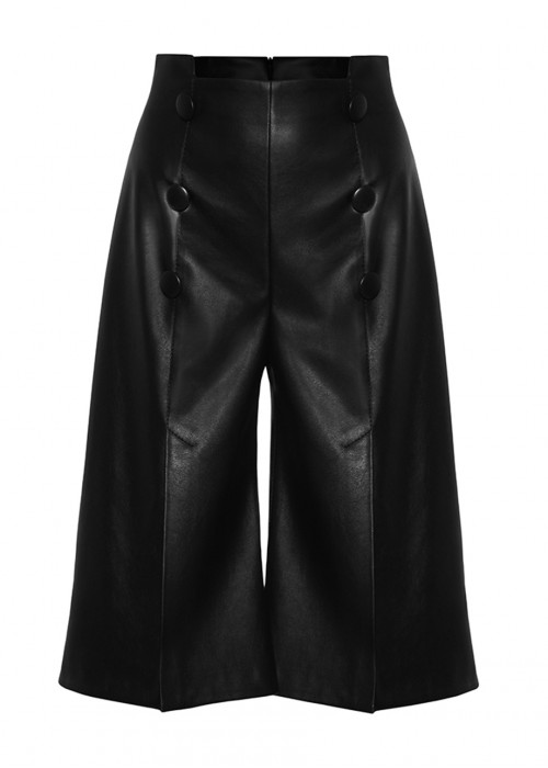 FRONT CUT LEATHER SHORTS