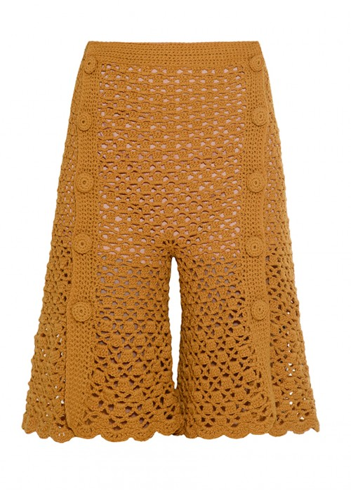 FRONT CUT KNITTED SHORTS