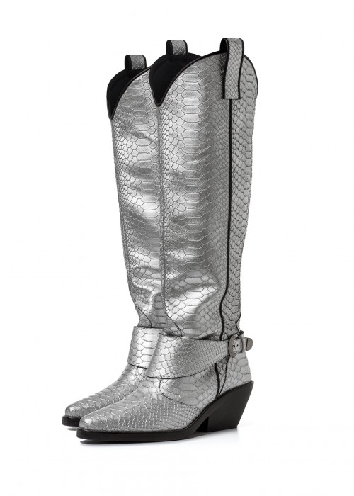 COWGIRL SILVER BOOTS