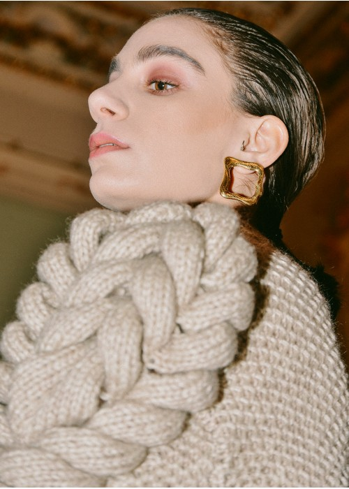 TURTLENECK HAND KNITTED WOOL SWEATER