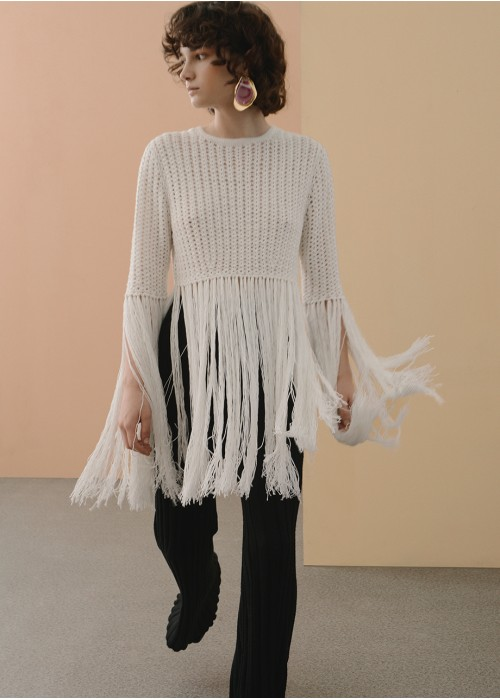 KNITTED FRINGE TOP