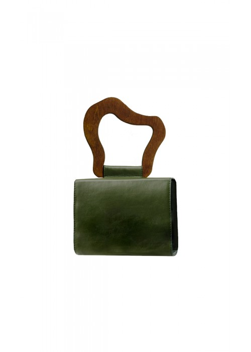 BOX BAG WITH WOODEN HANDLE